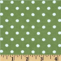 Aunt Polly's Flannel Small Polka Dots Dark Sage/White