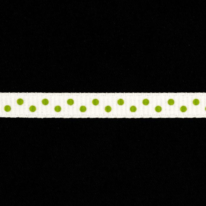"1/4"" Grosgrain Ribbon Mini Dot Parrot Green"