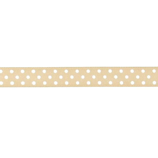 "5/8"" Grosgrain Ribbon Polka Dots Champagne/White"