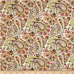 Timeless Treasures Jasmine Paisley Cream