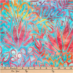 Kaufman Artisan Batiks Totally Tropical Ferns Rainbow