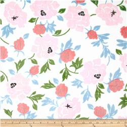 Minky Cuddle Romance Rose Garden White Fabric