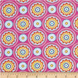 Timeless Treasures Claire Floral Medallion Pink