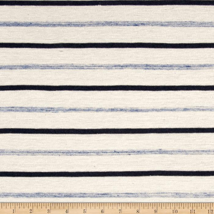 Jersey Knit Stripe Cream/Navy