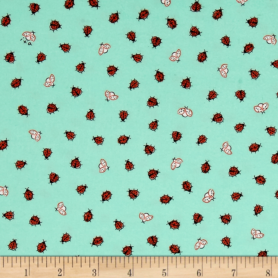 Ink & Arrow Little Buggers Flannel Lady Bugs Aqua Fabric by Quilting Treasures in USA