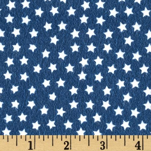 Riley Blake Lucky Star Flannel Star Navy