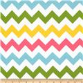Riley Blake Flannel Basics Chevron Medium Girl Pink/Green