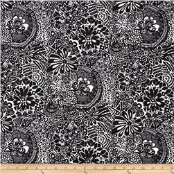 Poly Spandex Knit Floral Black/White