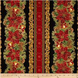 Timeless Treasures Holiday Hearth Metallic Border Black