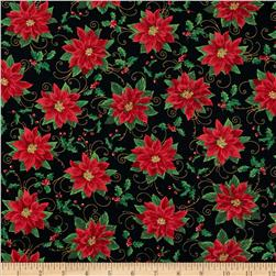 Deck The Halls Poinsettias & Scroll Black