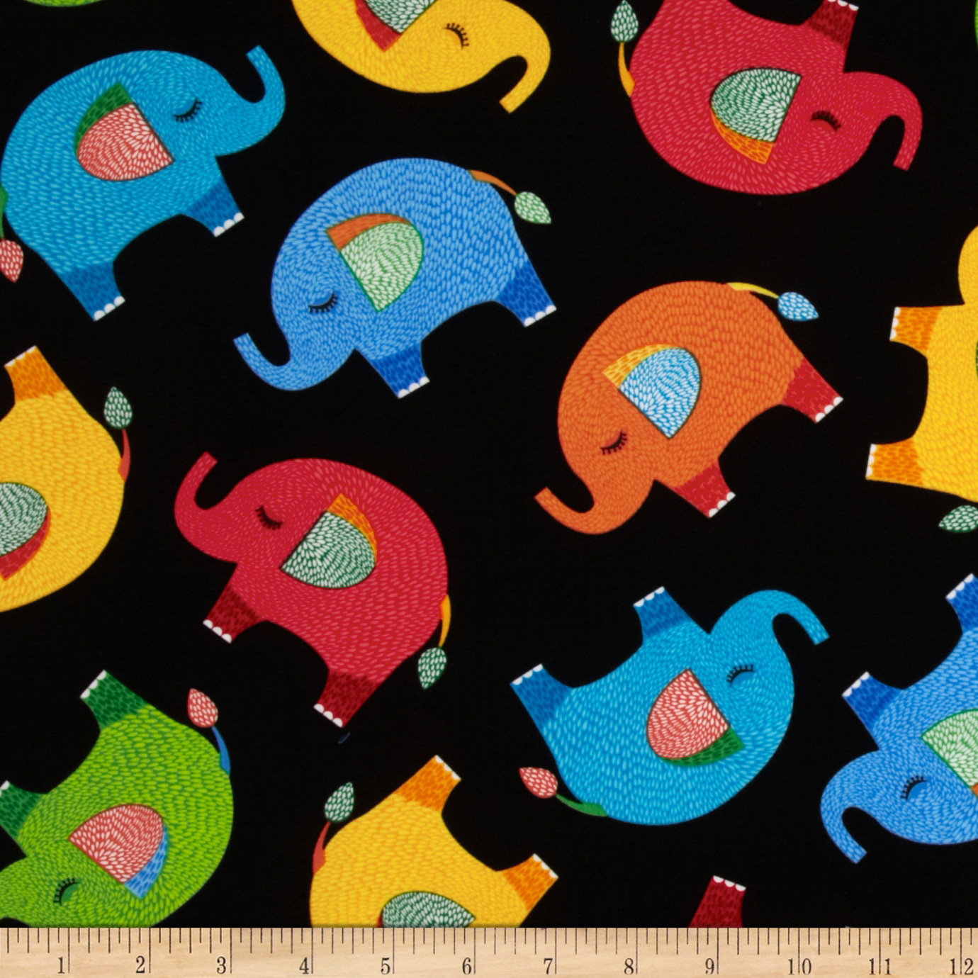 Timeless Treasures Elephants Black Fabric