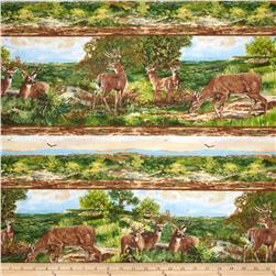 Flannel Deer Scenes Green/Brown
