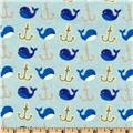 Camelot Flannel Whales Light Blue