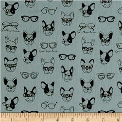 Kokka Trefle Soft Animals French Bull Dogs Double Gauze Light Blue
