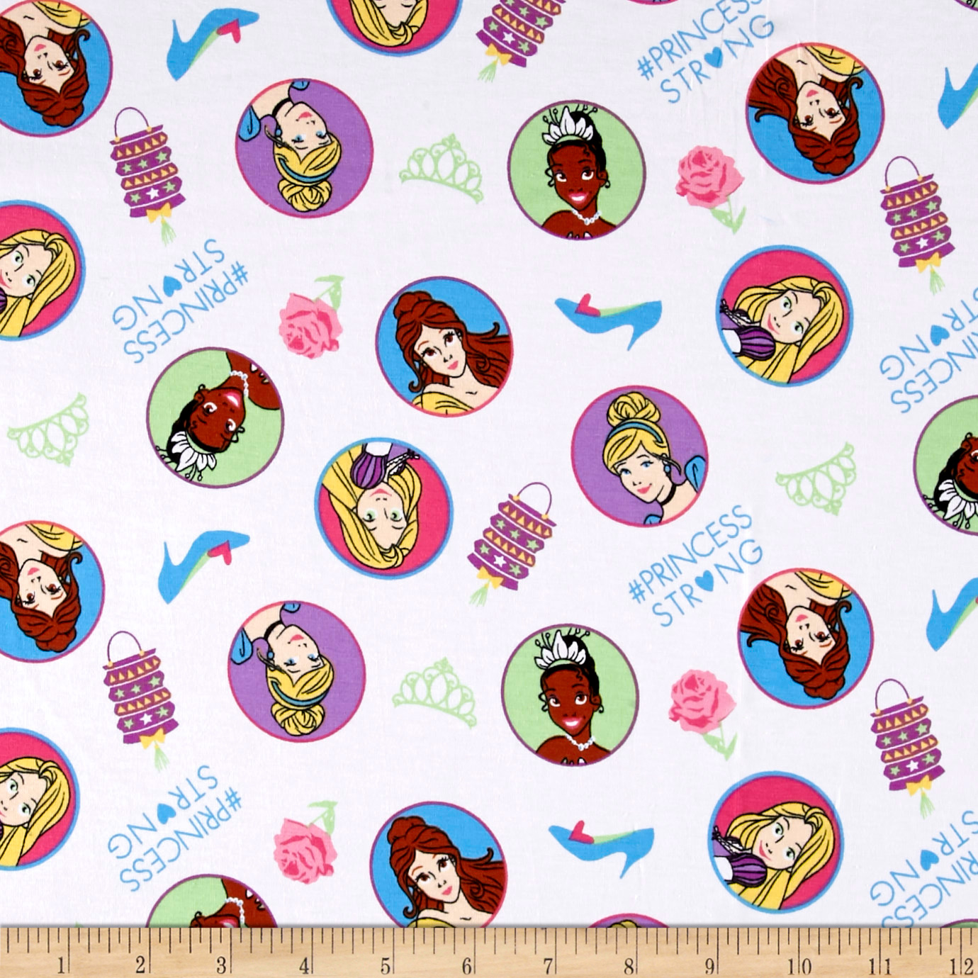 Image of Disney Princess # Princess Strong Jersey Knit White Fabric