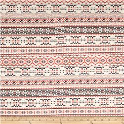 Fashion Jersey Aztec Knit Coral/Black/White/Taupe