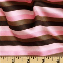 Charmeuse Satin Striped Mocha/Pink