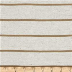 Designer Stripe Jersey Knit Khaki/Cream Fabric