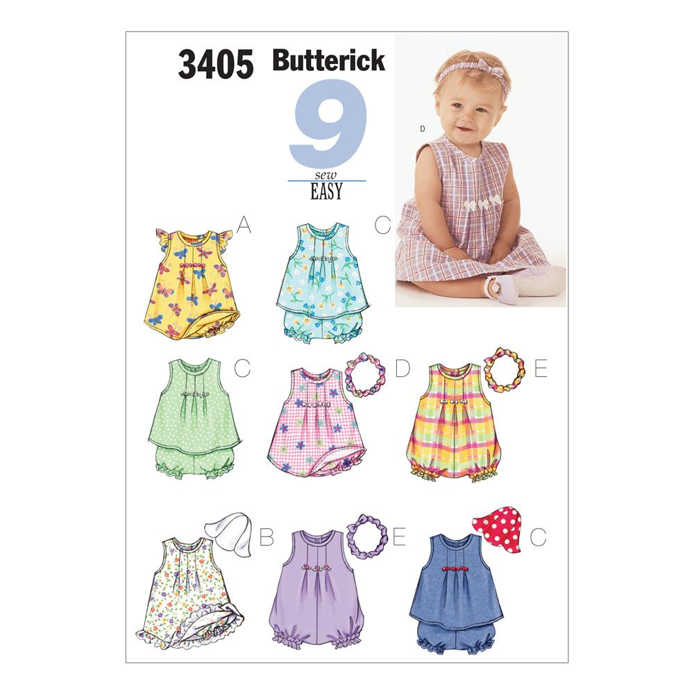 Butterick Infants' Dress, Top, Romper, Panties, Hat &