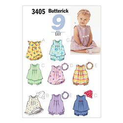 Butterick Infants' Dress, Top, Romper, Panties, Hat & Headband Pattern B3405 Size LRG