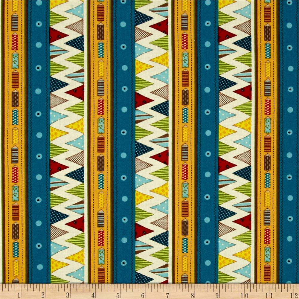 Sunshine Zoo Pencils & Flags Stripe Multi Fabric By The Yard