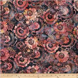 Bali Batiks Scalloped Floral Charcoal