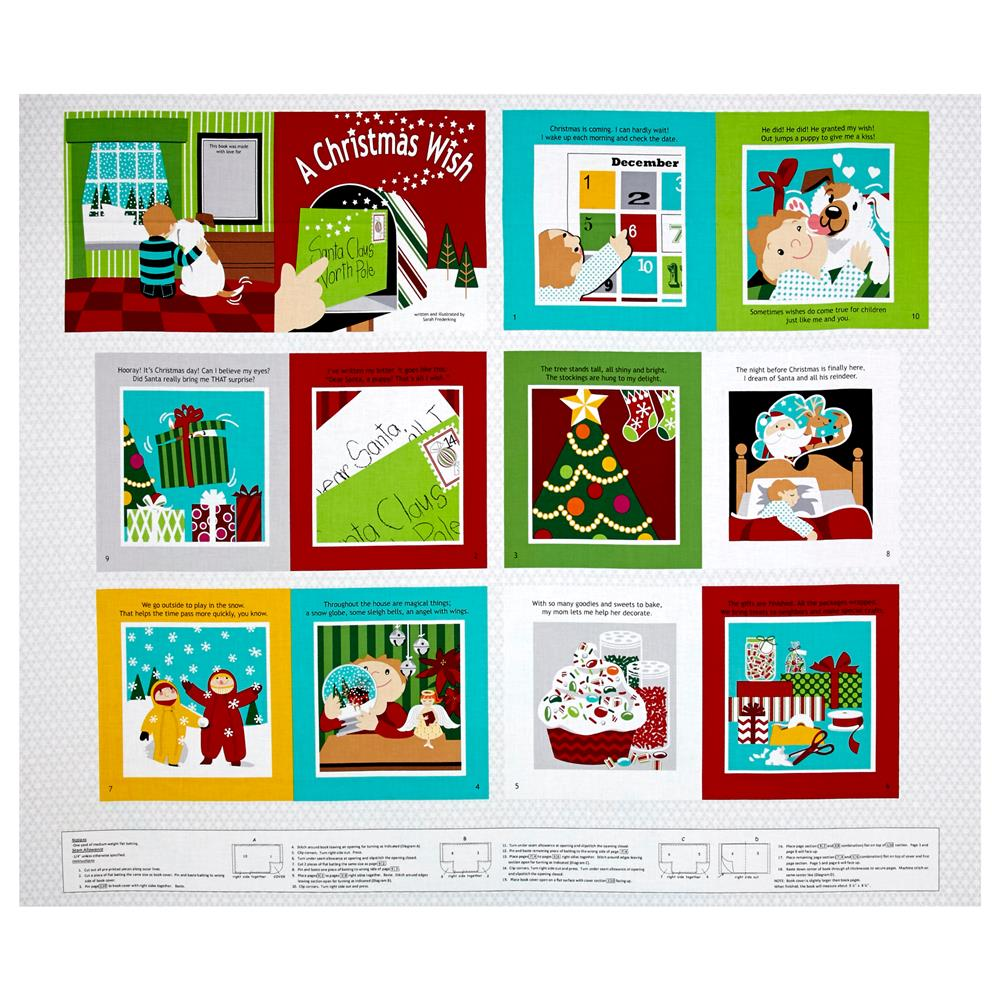 Sarah Frederking A Christmas Wish 35'' Book Panel Red Fabric