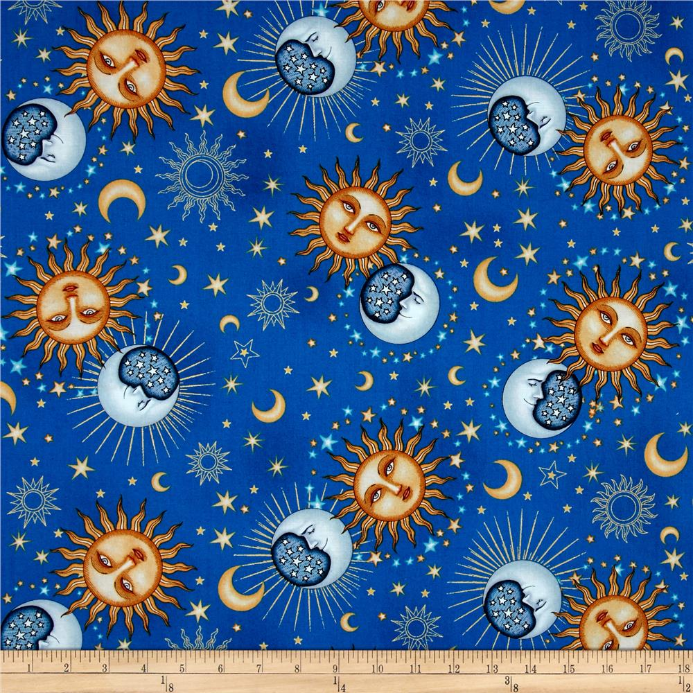 Celestial sol metallic day night toss blue discount for Celestial pattern fabric