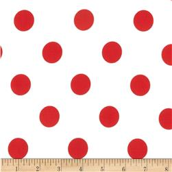 Cotton Blend Broadcloth 1 in. Red Dot On White
