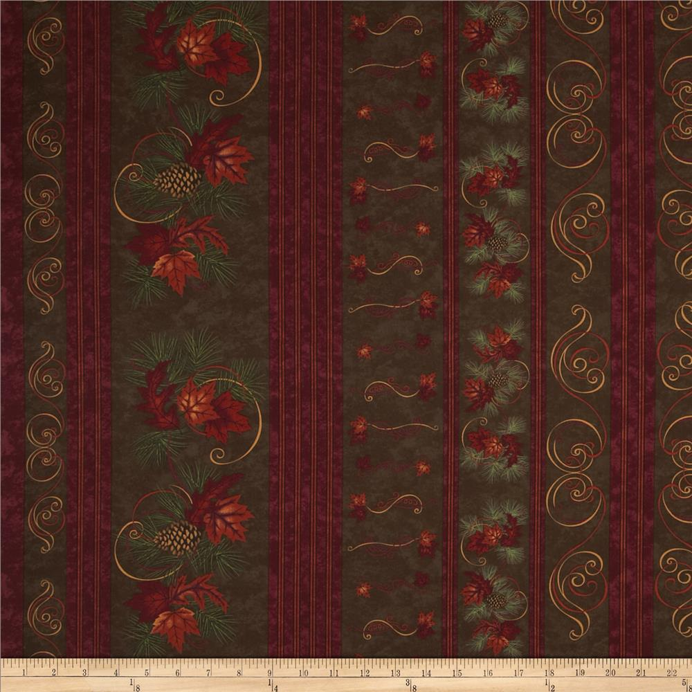 Moda Turning Leaves Decorative Stripe Walnut