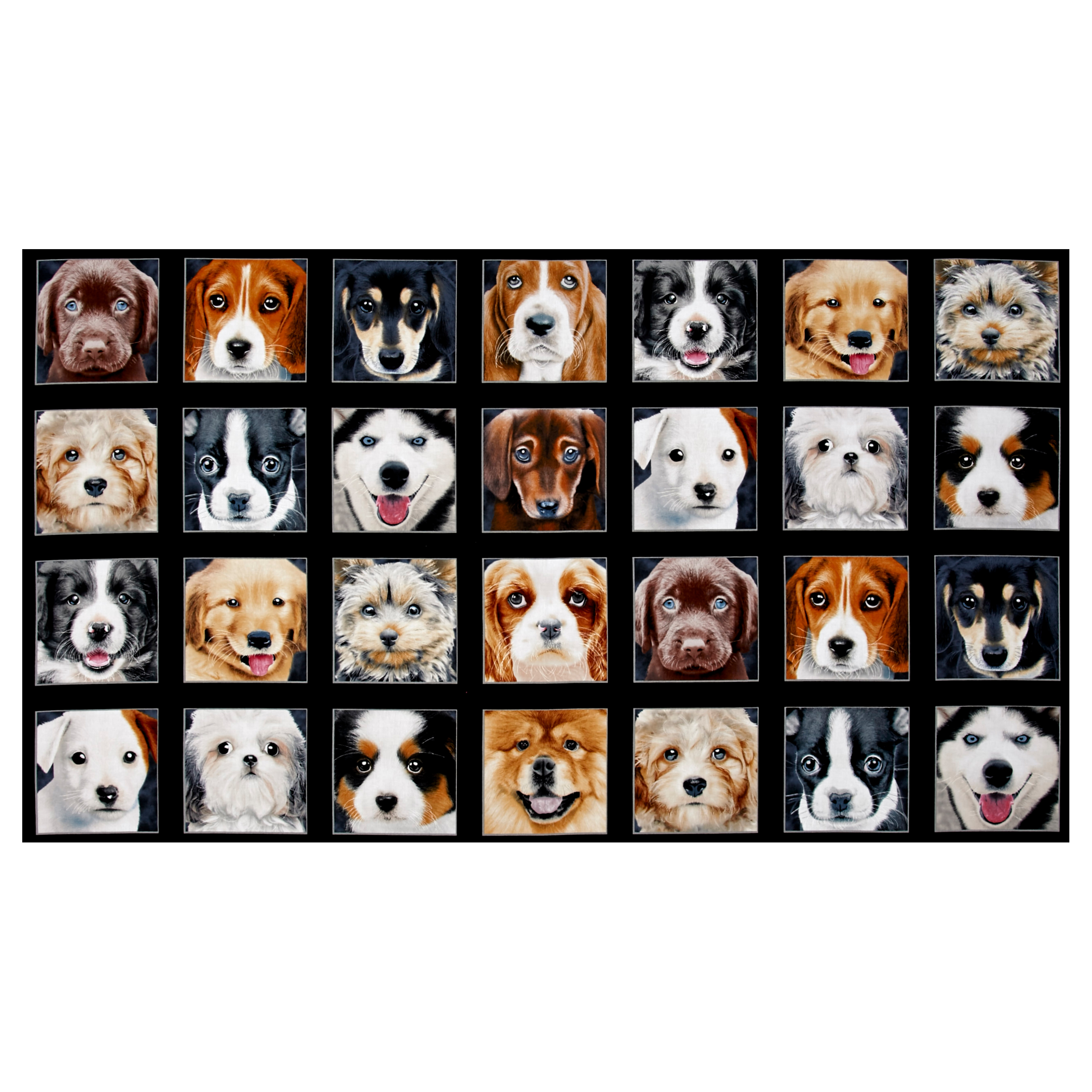 Adorable Pets Dogs 23.5' inch Panel Black Fabric