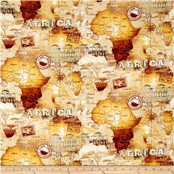 Timeless Treasures Safari African Map Map