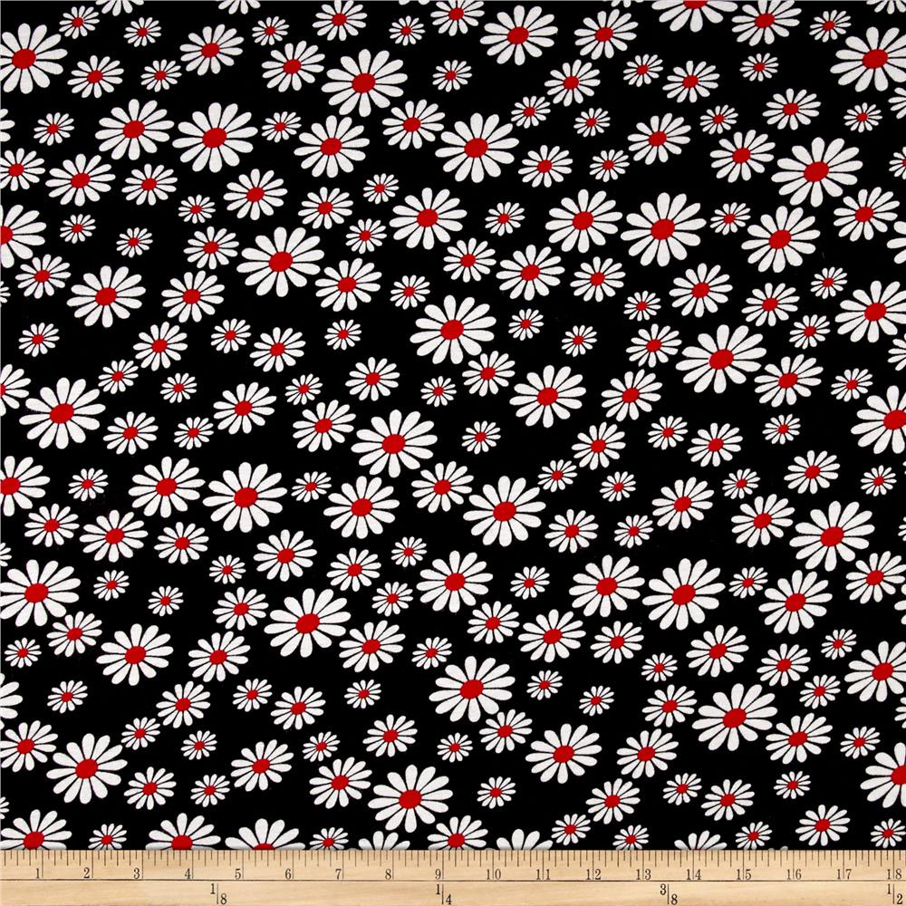 Rayon Jersey Knit  Assorted Daisies on Black