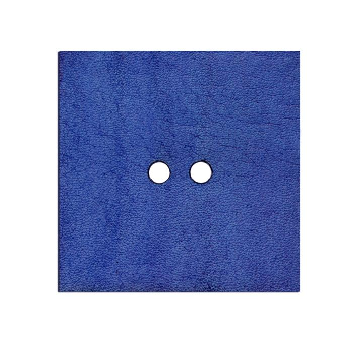 2'' Leather Button Square Blue