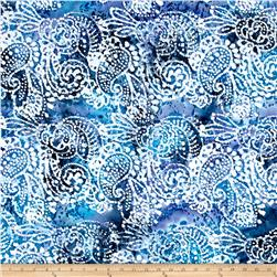 Indian Batik Cascades Paisley  Blue