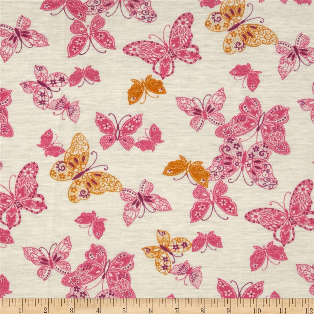 Stretch Rayon Jersey Knit Butterflies Pink/Gold