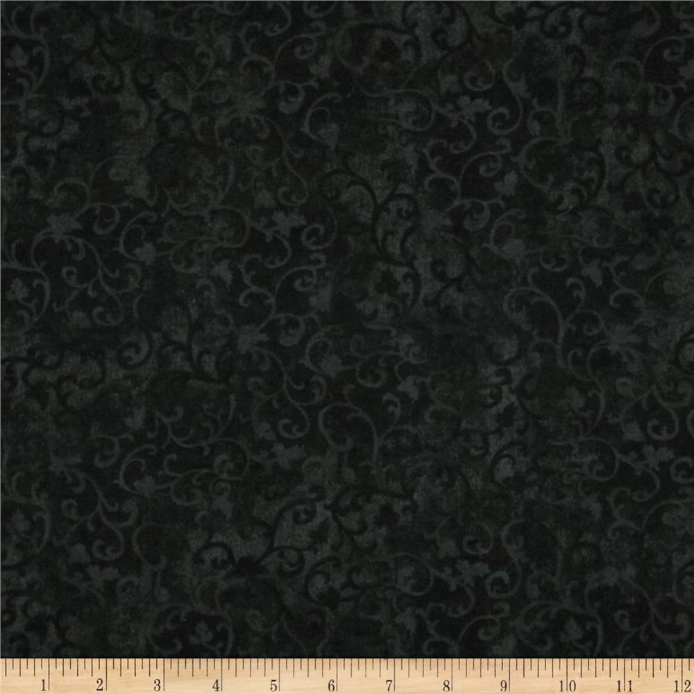 Essentials flannel scroll dark black discount designer for Black fabric