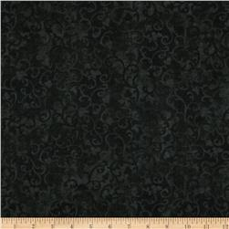Essentials Flannel Scroll Dark Black Fabric