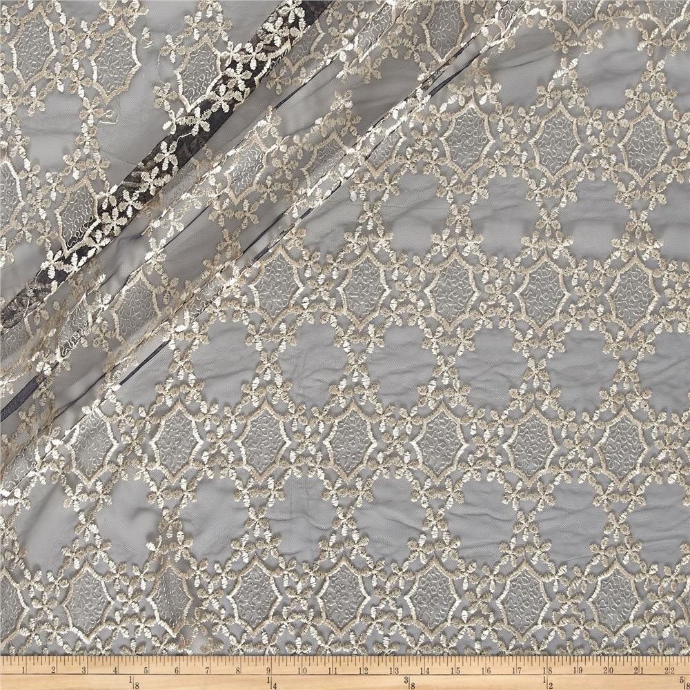 Embroidered Netting Floral Navy/Champage