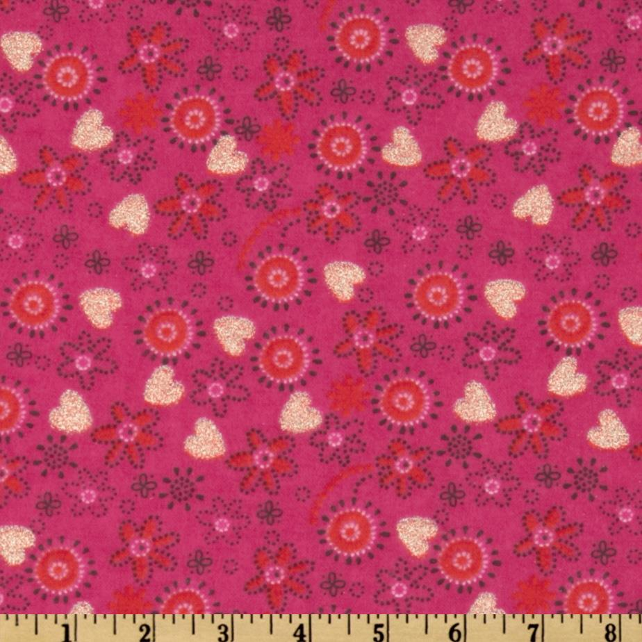 Camelot Flannel Glitter Tossed Flowers Pink