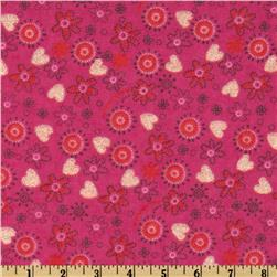 Camelot Flannel Glitter Tossed Flowers Pink Fabric