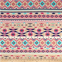 Mayan Tribal Print Jersey Knit Tan
