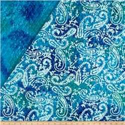 Double Face Quilted Indian Batik Paisley Blue/Green