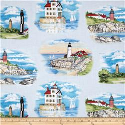 Lighthouses Small Allover Blue