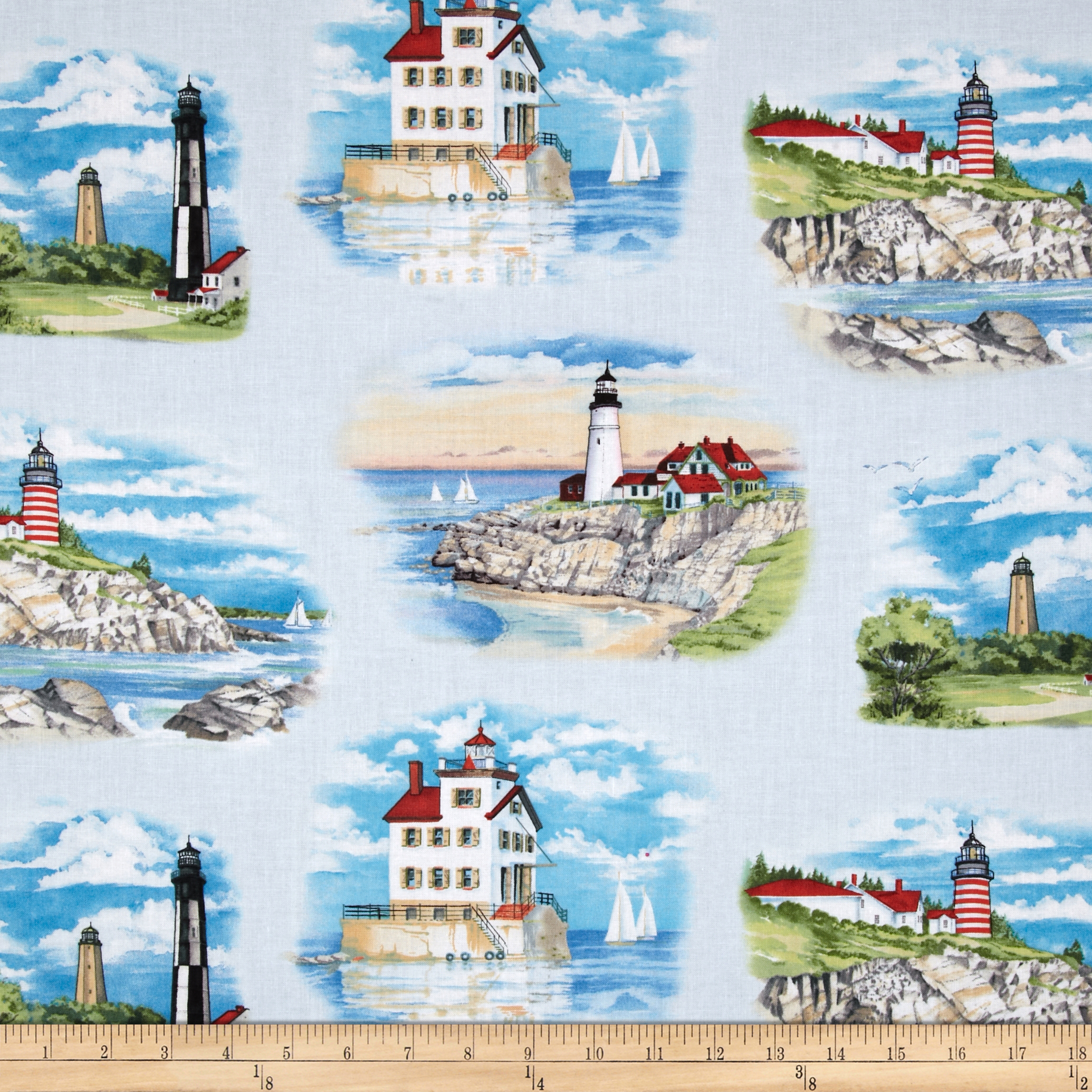 Lighthouses Small Allover Blue Fabric