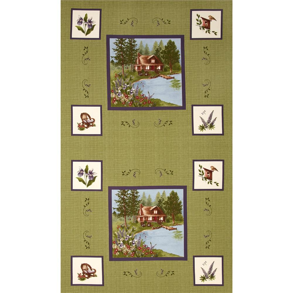 Moda Lady Slipper Lodge 24 In. Panel Pine Green