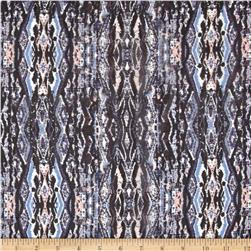 Ikat Silk Chiffon Black/Light Blue