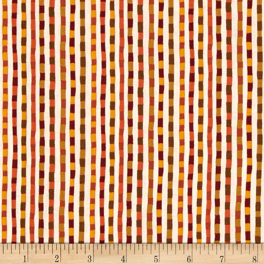 Good Seasons Fall Checkered Stripe Orange Fabric