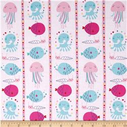 Ahoy Matey Fish Stripe Pink Fabric