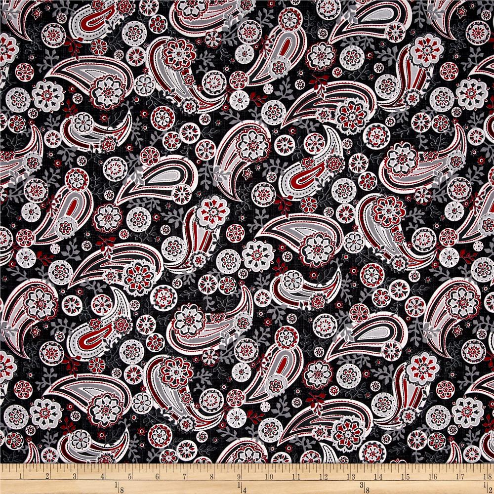Black, White & Currant 6 Paisley Black
